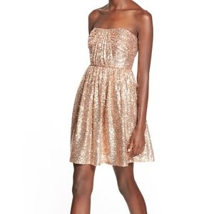 SOLOISTE Rose gold Sequin Skater Dress, Size XS